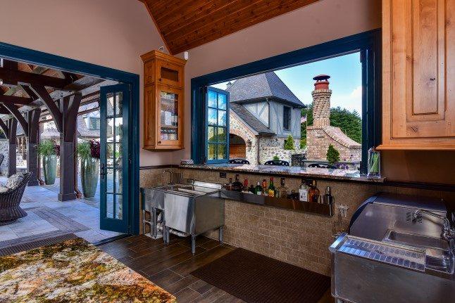 Asheville luxury homes pool cabana bar